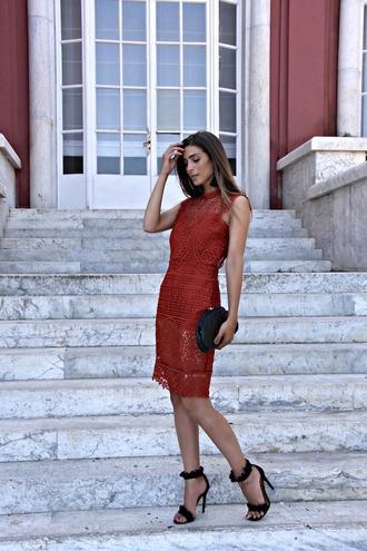 cosamimetto blogger dress shoes bag jewels sandals high heel sandals red dress clutch