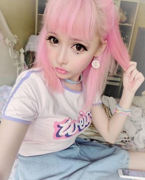 Shirt Korean Fashion Kfashion Kawaii Pink Hair Pastel