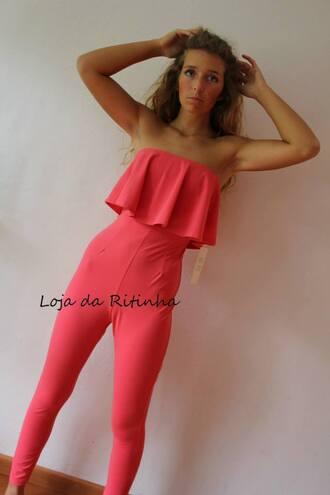 jumpsuit bandeau jumpsuit strapless jumpsuit pink blue black ruffle ruffle jumpsuit ruffle bandeau jumpsuit