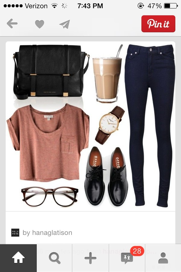 shirt jewels bag jeans sunglasses shoes outfit topshop watch coffee glasses back to school high waisted jeans crop tops denim oxfords mornings crop tee blouse t-shirt oxfords black striped crop top black satchel stripes dr martians hat top fashion cute top