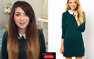 clothes youtuber zoella forest green peter pan collar