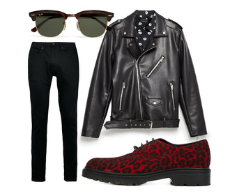 carolines mode blogger leopard print red shoes perfecto black leather jacket black jeans