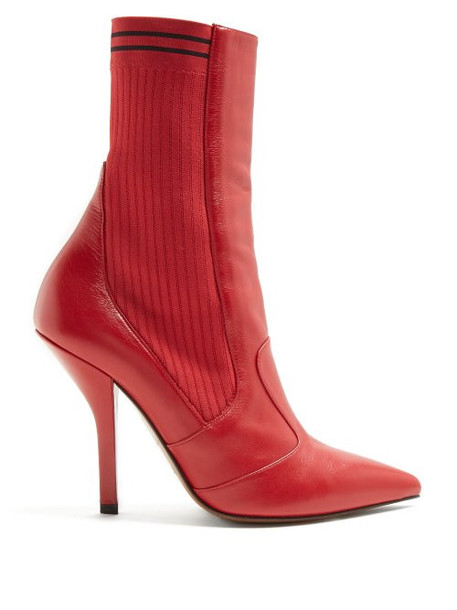 Fendi - Leather And Ribbed Knit Ankle Boots - Womens - Red