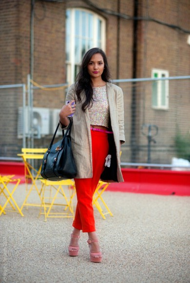 jacket pants red pants red black purse black purse blazer bag