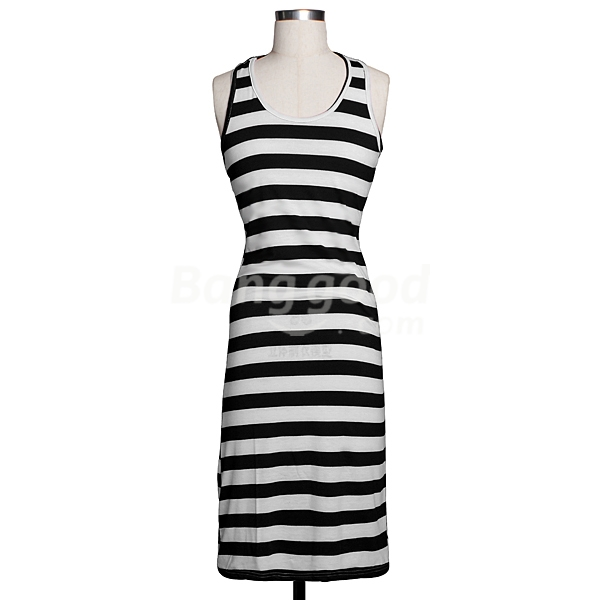 Zanzea New Casual Womens Slim Bohemia Striped Vest Sleeveless Beach Long Dress Free Shipping!  - US$12.96