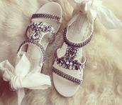 shoes,strass,noeud,flat sandals,white sandals,embellished