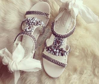 shoes strass noeud flat sandals white sandals embellished