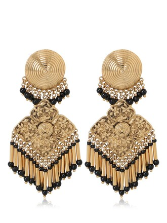 earrings pendant gold black jewels