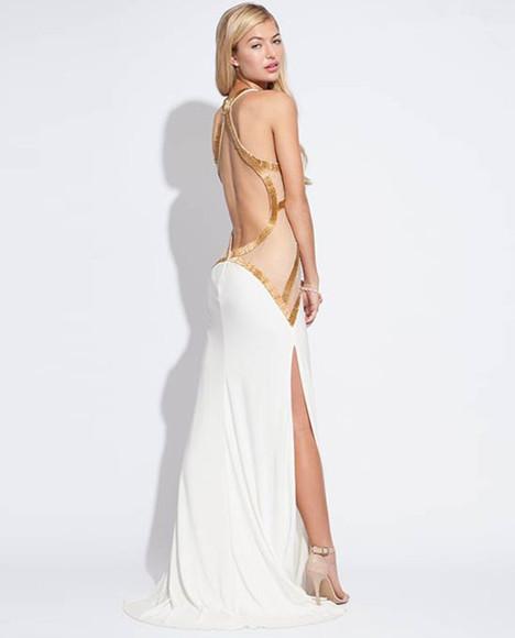 sexy dress party dress evening dress high slit dress prom dress 2014 dress white dress sale dress backless dress golden strap design dress