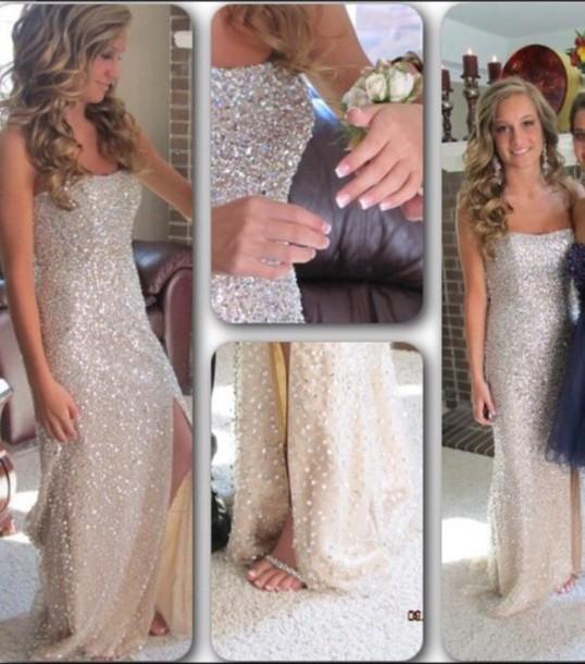 de965819f3baa dress sherri hill nude dress silver dress prom prom dress prom dress long  beaded sequin dress