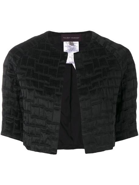 Talbot Runhof jacket cropped women cotton black silk