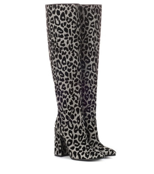 Dolce & Gabbana Leopard over-the-knee boots in silver