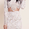 Gorgeous white wave-shape cut hem long sleeve crop top with body con skirt - nextshe.co.uk