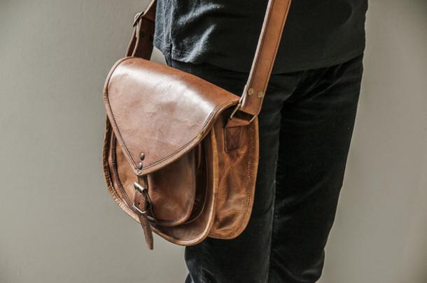 bag saddle bag brown saddle bag leather bag boho bag aged leather bag  distressed bag tan