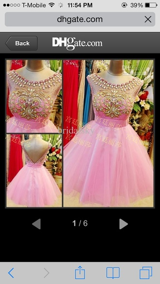 dress pink pink dress pretty in pink pink and gold open back babydoll dress formal dress jeweled top