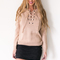 Stitched up sweater in beige - black swallow boutique