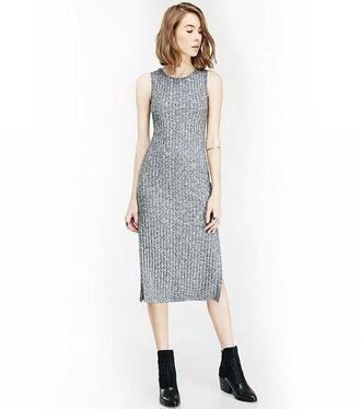dress midi summer knit dress midi dress knitted dress grey dress boots black boots bracelets ring hairstyles