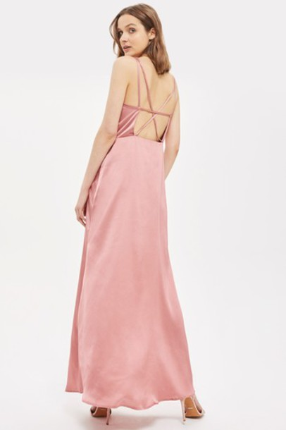 Topshop dress maxi dress maxi love pink satin