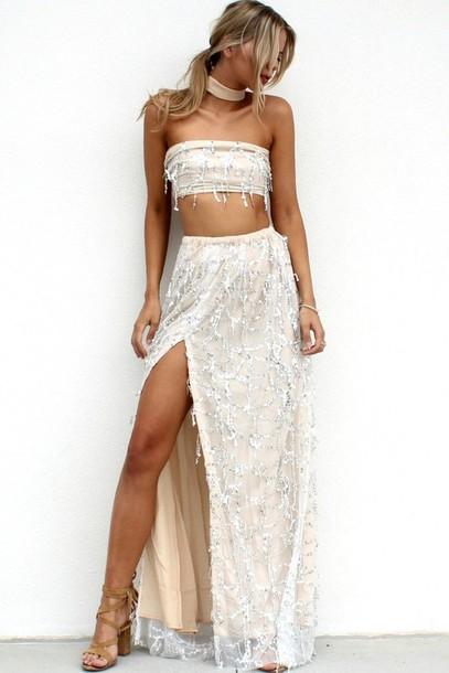 4a6eb51f4 dress girl girly girly wishlist two piece dress set maxi skirt white dress  cute two-