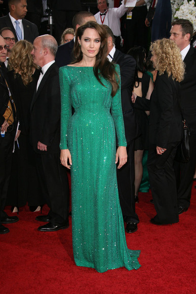 angelina jolie clothes evening dress emerald green celebrity style celebrities