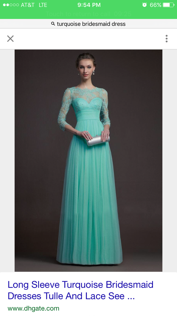 Turquoise A Line 3/4 Long Sleeves Bridesmaid Dresses For My Friend 2016 Cheap Floor Length Tulle And Lace Maid Of Honor Gowns Dark Red Bridesmaid ...
