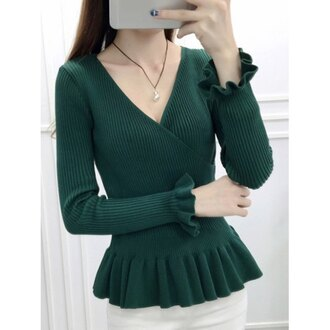 sweater green long sleeves knitwear trendsgal.com fashion style girly cute casual