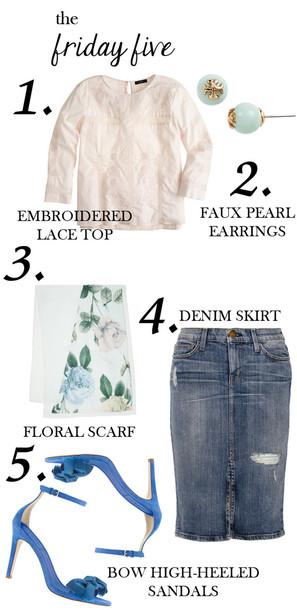 m loves m blogger earrings floral printed scarf denim skirt pink blouse blue shoes