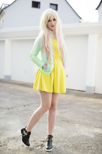 andy sparkles blogger yellow dress bershka