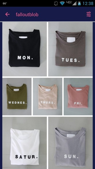 top shirt t-shirt colorful tumblr tumblr clothes days of the week minimalist gift ideas
