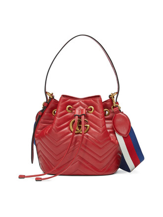 metal women quilted bag bucket bag leather red