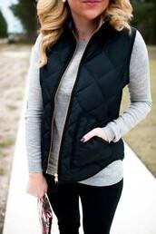 jacket,vest,black puffer vest