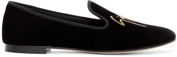 loafers black velvet shoes