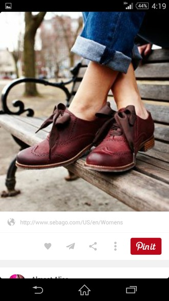 shoes burgundy bow oxfords