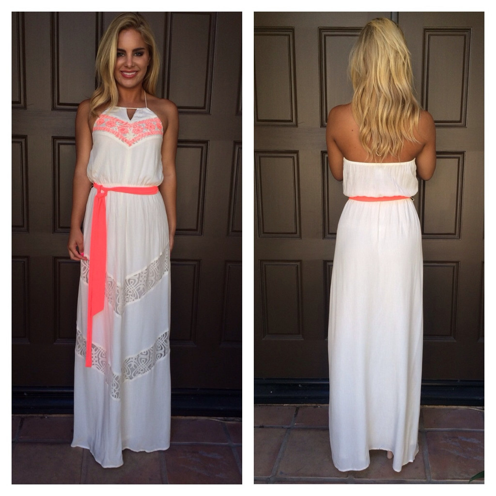 White & Neon Trim Lace Embroidered Maxi Dress