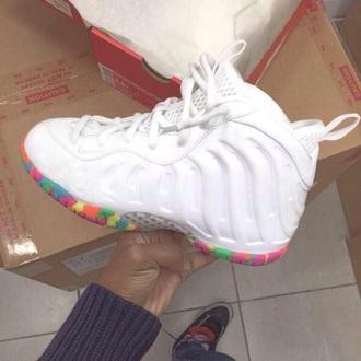 shoes white sneakers sneakers white sneakers trendy 2015 dope dope shoes blouse white colorful foams fruity pebble foams jordans job rdans make-up