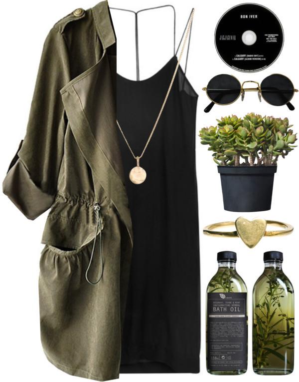 jacket green olive green jewels tank top sunglasses dress