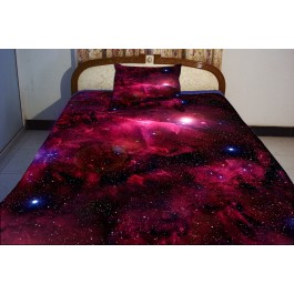 Red nebula bedding the gifts for boyfriend 2 sides printing nebula on quilt duvet cover 2 red nebula pillow covers