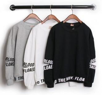 sweater black white grey swag hip hop letters top black sweater white top grey sweater