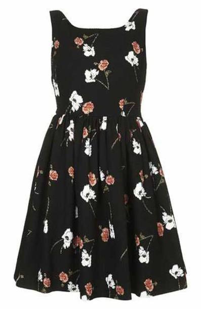dress black flowers pansy cute beautiful pretty girly classy black dress floral dress skater dress fit and flare dress cute dress