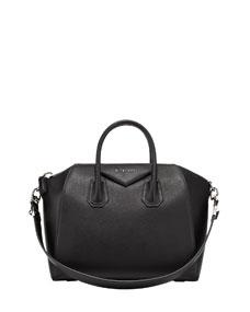 Givenchy antigona medium leather satchel bag, black