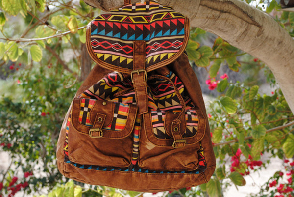 bag backpack hipster pattern purse aztec tribal pattern fringes summer aztec pretty brown leather cute print tribal pattern vintage