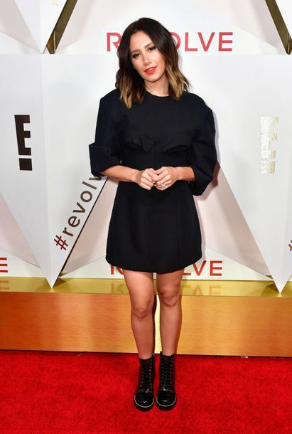 dress black dress mini dress all black everything fall outfits ashley tisdale ankle boots
