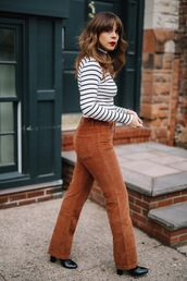 pants,tumblr,corduroy,brown pants,top,stripes,striped top,boots,black boots