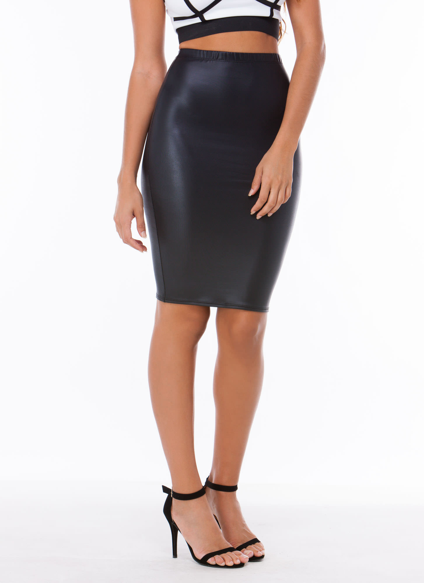 Pencil It In Faux Leather Skirt BLACK - GoJane.com