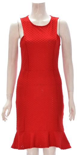 Women Sleeveless texture back zip Midi Peplum Dress Red 8-14
