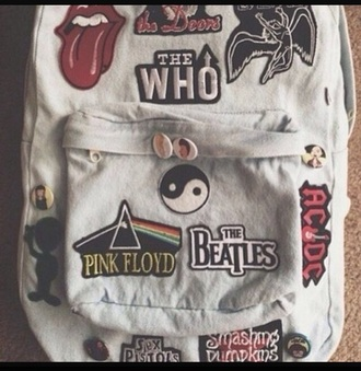 bag bands white backpack girls school hipster grunge acdc the beatles pink floyd celebrities