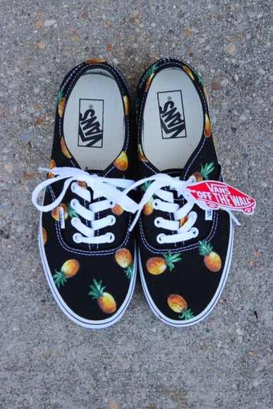 shoes vans pineapple print cute tumblr tumblr girl tumblr shoes tumblr clothes black tennis shoes skate shoes off the wall cool pineapples