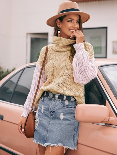 Two Tone Drop Shoulder Turtle Neck Cable Knit Sweater