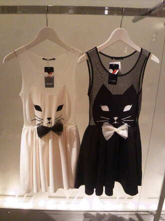dress cats short bow mini dress black white kitty dress dressdress dress little black dress cute dress cat dress lovely