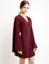 dress,burgundy kimono wrap dress by new revival,reformation,kimono wrap dress,burgundy dress,wrap dress,kimono dress,kimono,cute dress,summer dress,chic,fashion,pixiemarket,burgundy